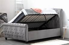 hton grey velvet upholstered ottoman storage sleigh bed