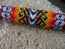 peyote stitch beaded keychain american indian handmade