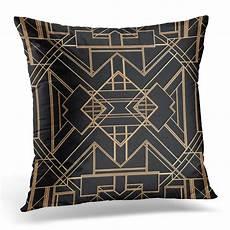 cmfun black 1920 style geometric pattern gold pillow cover