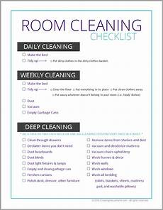 Cleaning Checklist By Room Room Cleaning Checklist For Tweens Amp Teens