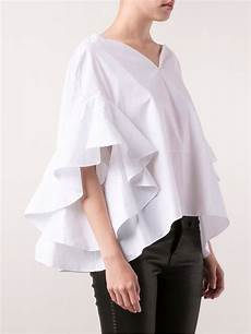 sleeve blouse delpozo ruffle sleeve blouse in white lyst