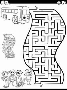 maze or labyrinth for coloring premium vector