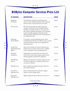 Template For Price List Price List Template 3