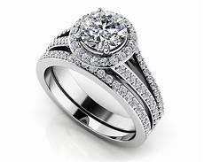 dazzling four row diamond engagement set roco s jewelry