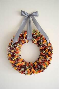 fall fabric scrap wreath