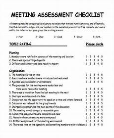 Meeting Checklist Template Assessment Checklist Template 11 Free Word Pdf Format