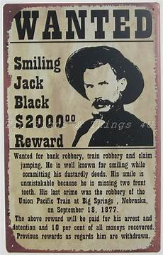Funny Wanted Posters Smiling Jack Black Wanted Poster Tin Sign Metal Western