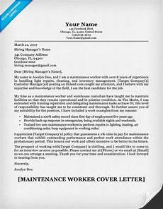Cover Letter For Maintenance Manager Maintenance Worker Cover Letter Sample Resume Companion