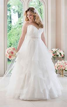plus size a line wedding dress with lace bodice stella york