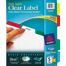 Avery Lable Maker Avery 174 Index Maker Clear Label Tab Dividers 5 Tab