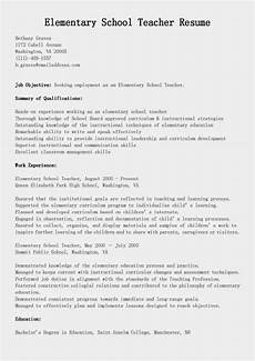 Primary School Teacher Resumes Resume Samples Elementary School Teacher Resume Sample