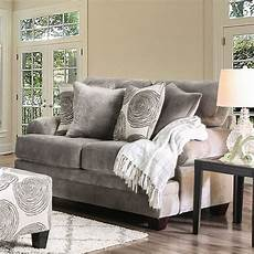 rosalinda transitional grey microfiber sofa set with