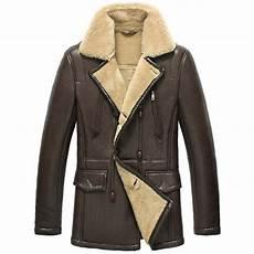 mens coats leather sheepskin pea coat for cw856128