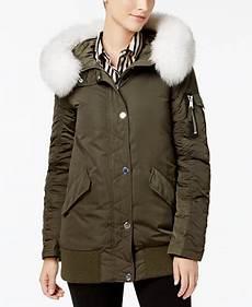 1madison s coats 1 expedition fox fur trim bomber coat coats