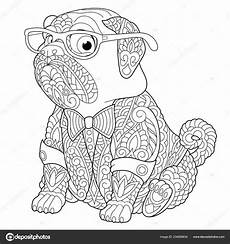 malvorlagen stress ausmalbild mit mops hund freihand