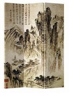 asianliving canvas room divider 3 panel mountains