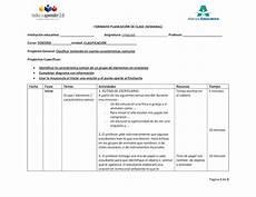 Formato Para Planear Una Clase Calam 233 O Ejemplo Planeacion Clase Lenguaje