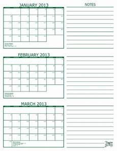 Calendar Template 3 Months Per Page Free Printable 3 Month Calendar In Pdf Format Five Colors