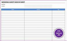 Guest Sign In Sheet Template Wedding Guest Sign In Sheet Template Excel Templates