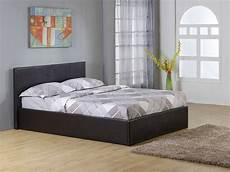 black 4ft6 storage ottoman gas lift up bed frame