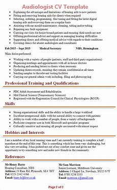 How To Cover Letter Audiologist Cv Template 2