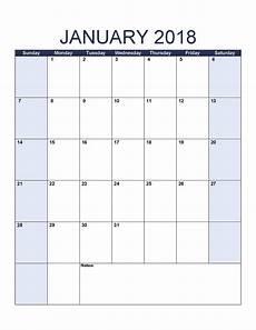 Printable Blank Calendar January 2018 Calendar Free Printable Calendar Templates