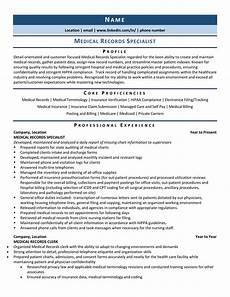 Medical Records Resumes Medical Records Specialist Resume Example Amp Template For 2020