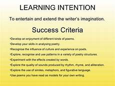 Poetry Success Criteria Teaching Poetry