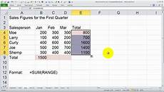 Excel Function Definition Using The Sum Function In Excel Youtube