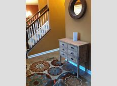 Entryway Upgrade! Sherwin Williams color Tatami Tan BHG Suzani rugs Home goods entryway chest