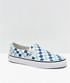 Light Blue And Checkered Vans Vans Slip On Blue Topaz Amp White Checkered Canvas Skate
