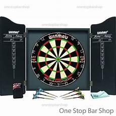 winmau professional darts dartboad cabinet complete set