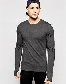 sleeve t shirts asos sleeve t shirt with thumbholes in grey in