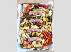 Sheet Pan Dinner with Bratwurst and Roasted Vegetables