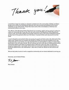 Letters Of Thank You A Letter Of Thank You From The Chief Of Police The City