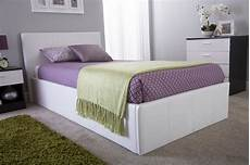 side lift ottoman storage single bed frame in white faux