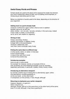 Phrases That Can Be Used In Essays Useful Argumentative Essay Words And Phrases