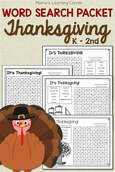 Word For Thanksgiving Word Search Packet Mamas Learning Corner