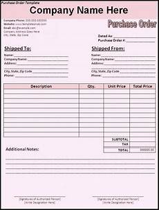 Sample Of Purchase Order In Word Format Free Purchase Order Form Template Excel Word Sample