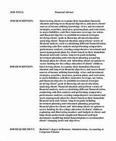 Financial Advisor Description Sample Financial Advisor Job Description 7 Examples In