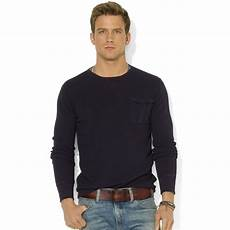 ralph sleeve shirts for lyst ralph crew neck sleeve waffle knit