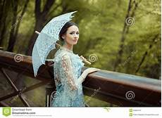 girl in a blue old fashioned dress stock image image of