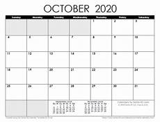 October 2020 Calendar Template 2020 Calendar Templates And Images