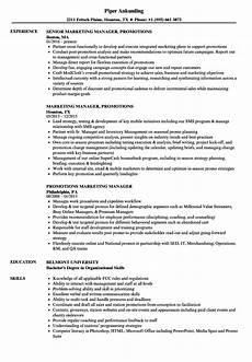 Resume For A Promotion Promotions Marketing Manager Resume Samples Velvet Jobs