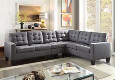 ealdun contemporary button tufted sectional sofa in gray linen