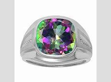 Diamond and Mystic Fire Topaz Men's Large Ring In White