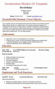 Construction Worker Resume Templates Construction Worker Cv 1