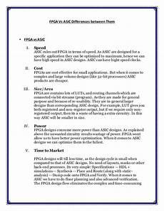 Asic And Fpga Design Notes Fpga Vs Asic
