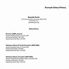 Example Of Salary 9 Sample Salary History Templates To Download For Free