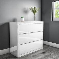 white high gloss chest of drawers 3 drawers modern
